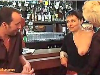 threesome with aged honeys in a bar