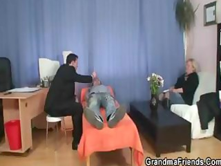 large blond granny slurps on her hubbys wang and