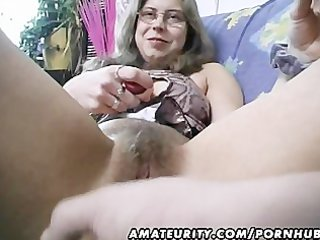 bushy dilettante wife toys and rides a pounder