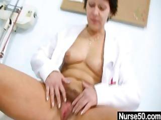 hot mother i in nurse uniform stretching unshaved