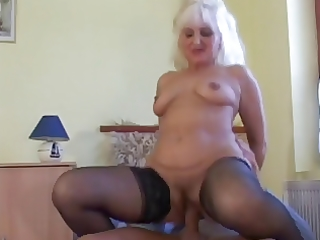 hawt blond euro granny assbanged in nylons