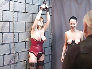 Two BDSM lesbian sluts eat pussy and spank for