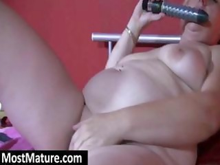 fat blond granny licks her sex toy and bangs her