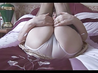 granny in her lingerie and stockings