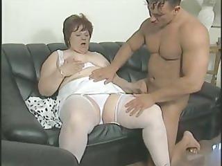 chunky granny in white stockings bonks