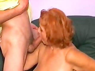 aged woman has a great experience with his two