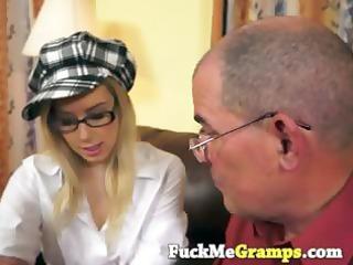 lustful grandpa seduces golden-haired girl